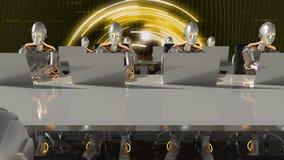 Cyborgs des travaux futurs dans le bureau de la science fiction sur des ordinateurs rendu 3d illustration de vecteur