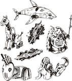 Cyborgs et robots réglés illustration stock