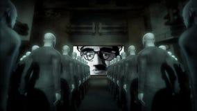 Cyborgs humanos que miran la pantalla con el hombre de la propaganda ilustración del vector