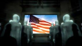 Cyborgs humanos que miran la pantalla con la bandera de los E.E.U.U. libre illustration