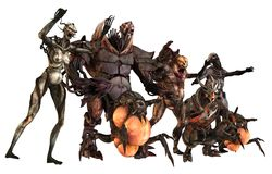 Cyborgs monsters 3d illustration. 3D Illustration of a cyborgs monsters isolated on white Royalty Free Stock Image