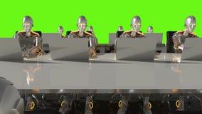 Cyborgs van de toekomstige werkzaamheden in bureau sc.i-FI op computers Het groene scherm het 3d teruggeven vector illustratie