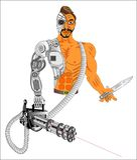 Cyborgvapen av framtiden royaltyfri illustrationer