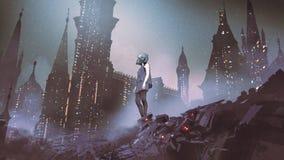 Cyborgvrouw in cyberpunkstad vector illustratie