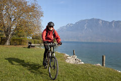 Cyckling by Lake Mondsee Stock Image