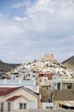 cyclades希腊端口syros城镇视图 图库摄影