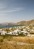 cyclades希腊ios海岛地中海全景 库存照片