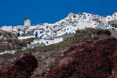 cyclades希腊oia santorini村庄 免版税库存图片