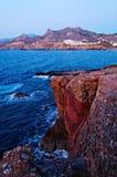 Cyclades海岛海岸线  免版税库存照片
