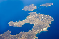 Cyclades from air. Bird view of greek cycladic islands Milos,Kimolos and Polyaegos Stock Photo