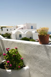 Cyclades architecture greek island santorini. Santorini classic greek island cyclades architecture house with flowers over the aegean sea greece mediterranean Stock Image