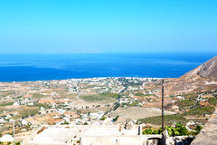In cyclades greece   europe the  village from hill Royalty Free Stock Photos