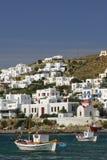 cyclades greece hamnmykonos Arkivfoton