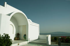 Cyclades greek architecture house with aegean view Royalty Free Stock Photos