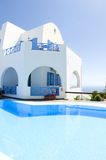 Cyclades greek architecture swimming pool Royalty Free Stock Photos