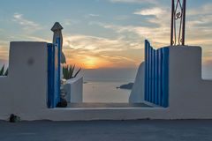 Cyclades Islands Sunset Landscape, Town of Imerovigli, Santorini, Thira, Royalty Free Stock Image