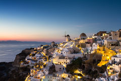 Cyclades village of Oia at twilight Royalty Free Stock Photos