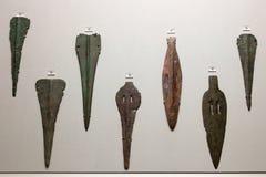 Cycladic胳膊在考古学博物馆,雅典,希腊 库存图片