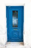 Cycladic błękita drzwi zdjęcia royalty free