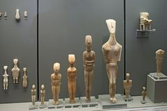 Cycladic figurines in museum of archaeology, Athens Royalty Free Stock Images