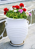 Cycladic flower pot stock photos