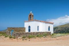 Cycladic greek orthodox church on Andros island,. Cyclades, Greece royalty free stock photo