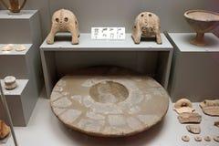 Cycladic hantverk i museum av arkeologi, Aten, Grekland Arkivfoton