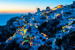 Cycladic Homes Along the Cliff of Oia, Santorini, Greece Stock Photography