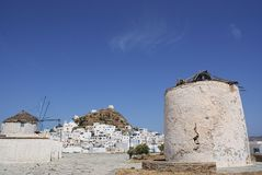 Greece, the island of Ios, windmills stock photo