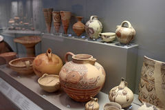 Cycladic pottery in museum of archaeology, Athens, Greece. Athens, Greece, September, 03, 2016. Cycladic pottery in museum of archaeology, Athens, Greece. These Stock Image