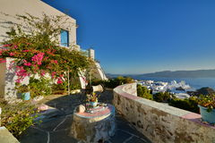 Cycladic terrace. Plaka, Milos. Cyclades islands. Greece Royalty Free Stock Photo