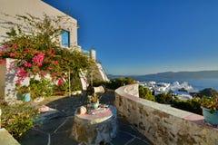 Cycladic terrace. Plaka, Milos. Cyclades islands. Greece royalty free stock photo