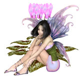 Cyclamen Fairy Sitting by Pink Flowers. Fantasy illustration of a pretty dark haired fairy sitting by a pink cyclamen flower, 3d digitally rendered illustration royalty free illustration