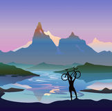 Cycle. Man with bike. Fantastic landscape Stock Image