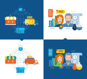 Cycle of acquisition  goods from purchase to delivery process Royalty Free Stock Photos