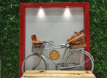 Art and taste. A cycle carrying bread and toast royalty free stock photos