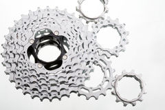 Cycle cogs. A brand newmountain bike chainwheel set, could be used as a metaphor for organisation, efficiency etc Royalty Free Stock Photography