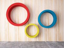 Cycle of color on the wood wall Royalty Free Stock Photography