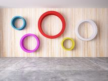 Cycle of color on the wood wall Stock Photos