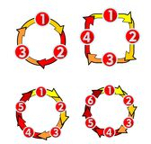 Cycle diagram with numbers arrows for three, four, five and six steps. Infographic template design elements. Royalty Free Stock Photo