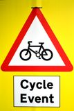 Cycle Event Sign. A temporary cycle event sign on plastic card, from England Stock Photos