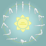 Cycle exercise in yoga sun salutation. Asanas. € Stock Image