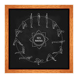 Cycle exercise in yoga. Sun salutation on the chalkboard. Silhouette outline. Texture of chalk. Vector� Stock Photo