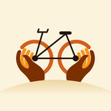 Cycle in hands, creative icon Royalty Free Stock Photos