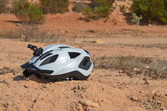 A Cycle Helmet With A Camera Mount Royalty Free Stock Image