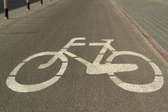 Cycle lane with bicycle sign Royalty Free Stock Images