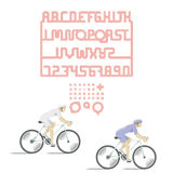 CYCLE LANE. COMPLETE ALPHABET AND NUMBERS Royalty Free Stock Photos