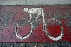 Cycle Lane Icon on Road Royalty Free Stock Photography