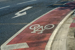 Cycle lane in the road Stock Images