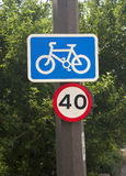 Cycle lane road sign Stock Photography